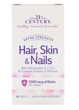 21st Century Витамины для волос, кожи и ногтей биотин 90 таблеток