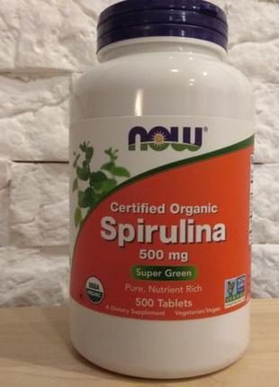 Спирулина натуральная 500 мг, 500 таблеток Now Foods США