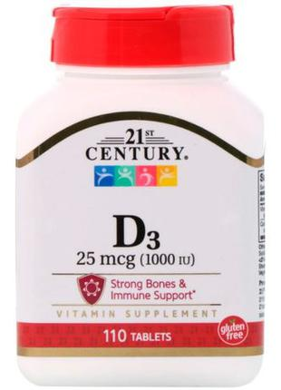 21st Century D3 витамин, 25 мкг (1000 МЕ), 110 табл. США
