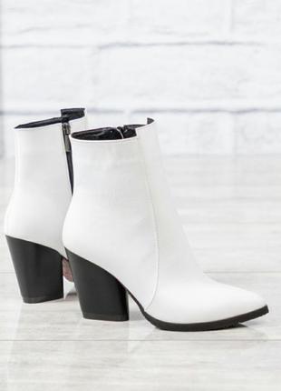 ❤ женские белые весенние демисезонные кожаные ботинки ботильон...