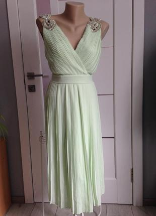 Вечернее выпускное платье миди мятного цвета