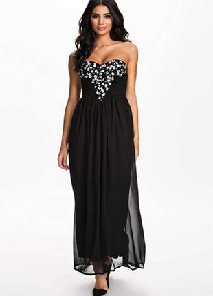 Вечернее выпускное платье макси с камнями