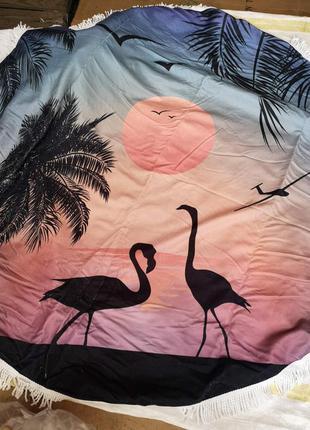 """Пляжный коврик подстилка полотенце покрывала""""фламинго"""""""