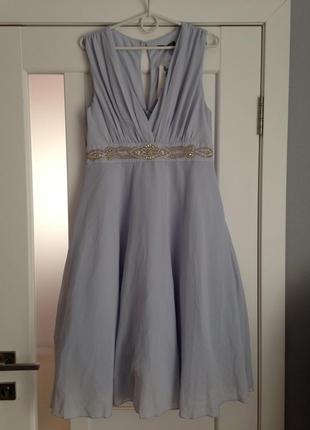 Пышное вечернее выпускное платье с расшивкой бисером