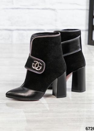 ❤ женские черные весенние демисезонные кожаные замшевые ботинк...