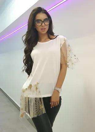 Нарядная белая футболка с фатином