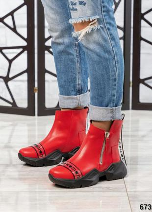 ❤ женские красные весенние демисезонные кожаные ботинки ботиль...