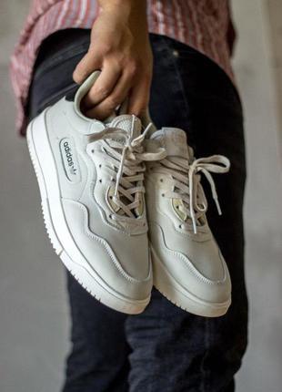 Adidas кожаные мужские кроссовки адидас в белом цвете (весна-л...