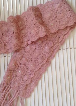 Пудровый шарф с камнями  на девочку 4-7 лет