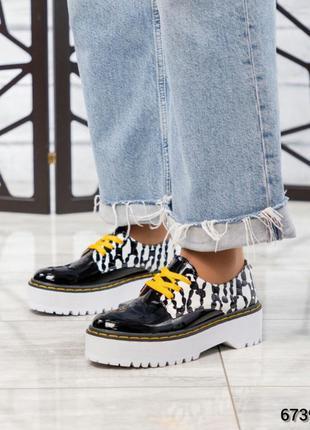 ❤ женские черные кожаные туфли лоферы броги на платформе ❤