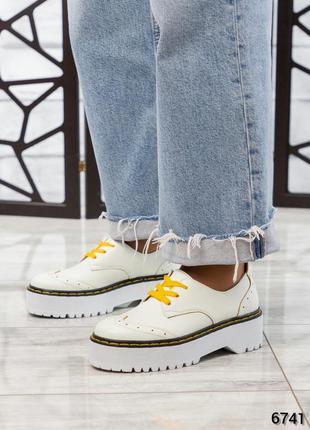 ❤ женские белые кожаные туфли лоферы броги на платформе ❤