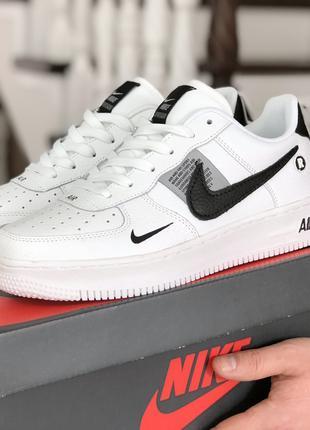 Кроссовки Найк Аир Форс Nike Air Force, белые и черные, р. 41-46