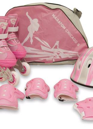Роликовые коньки S/раздвижные детские ролики,набор с защитой
