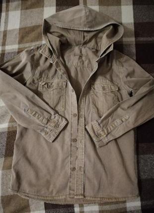 Рубашка из плотного коттона с капюшоном marks&spenser линейка ...
