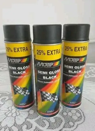 Аерозольная акриловая краска Моtip черная полуматовая 500мл