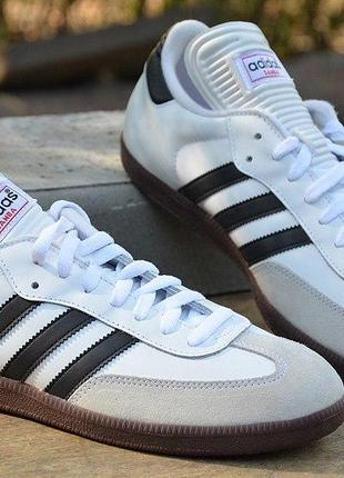 Оригинал adidas! белые кожаные кеды samba classic адидас