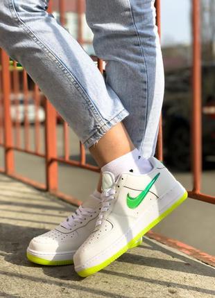Nike air force 1 low white green женские кроссовки найк
