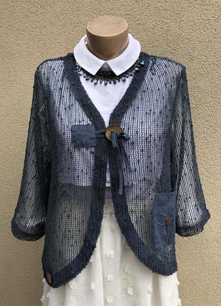 Жакет сетка,пиджак,кардиган,блуза,этно бохо стиль,