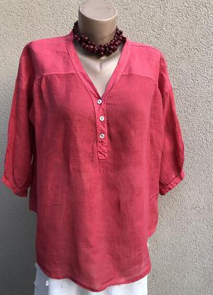 Красная блуза,рубаха,лён,хлопок,этно бохо стиль,