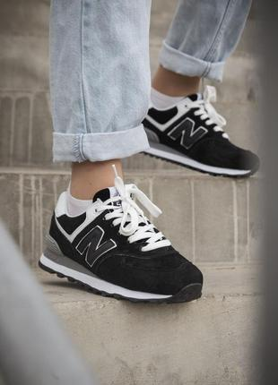 New balance 574 black женские кроссовки