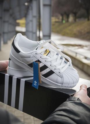 Adidas superstar white black женские кроссовки адидас