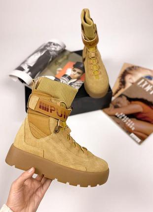 Fenty x puma scuba boot brown шикарные женские ботинки сапоги