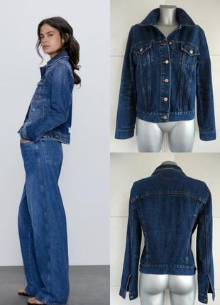 Джинсовая куртка zara модного кроя