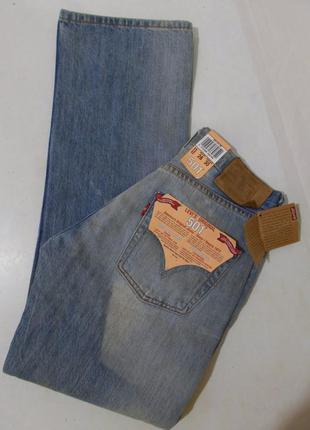 Новые джинсы голубые тертые рваные w28 l30 'levi's 501'