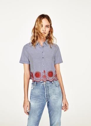 Zara рубашка в полоску с вышивкой  р. s