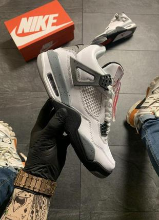 Nike air jordan 4 retro grey white .