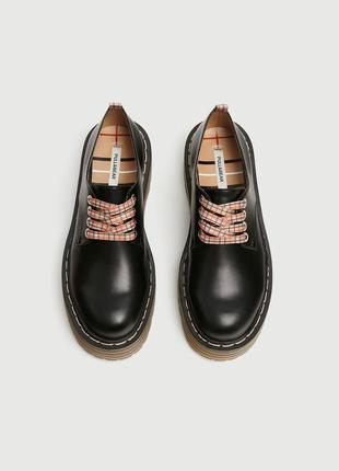 Стильные туфли ботинки pull&bear на тракторной подошве