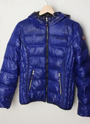 Napapijri женская пуховая куртка с капюшоном синяя
