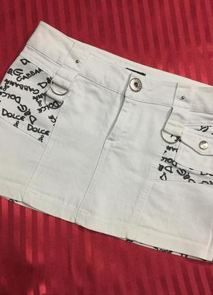Летняя, джинсовая юбка белая