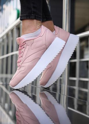 Reebok classic pink white, женские кроссовки рибок