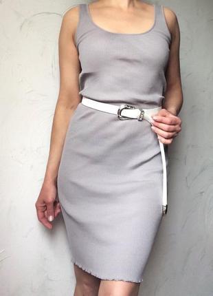 Серое платье майка в рубчик, германия, 34-36