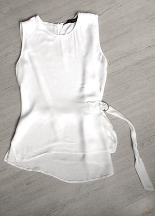 Шикарная белая блуза топ с поясом, zara, 38