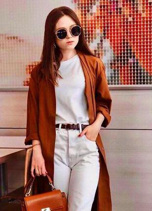 Терракотовый удлиненный свободный прямой пиджак, 38