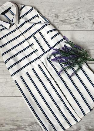 Удлиненная рубашка в полоску, безрукавка,38