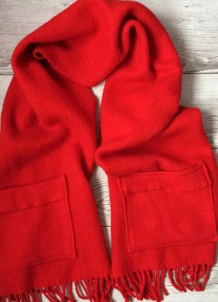 Шерстяной объемный шарф палантин с карманами