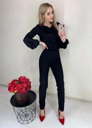 Чёрные штаны с завышенной талией, на молнии сзади, 36