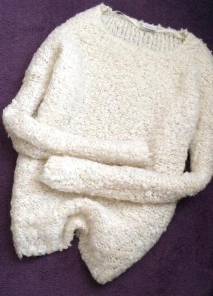 Шерстяной молочный свитер one size