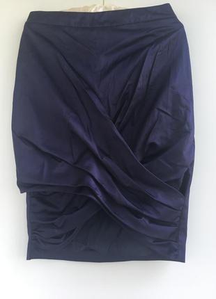 Роскошная юбка карандаш, люкс бренд burberry, темно синяя