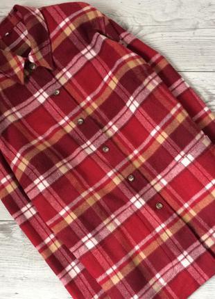 Пальто рубашка в клетку, шерсть, overseas