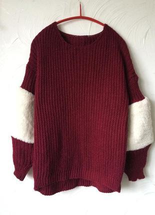 Italy 🇮🇹, свитер с меховыми вставками, 36/38