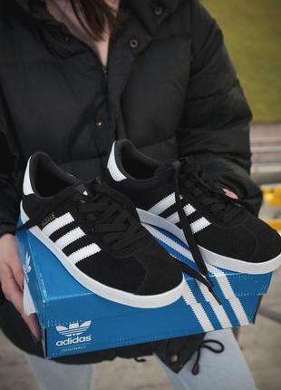 Adidas gazelle замшевые женские кроссовки адидас в черном цвет...