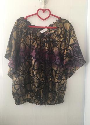 Интересная шелковая блуза, натуральный шёлк,