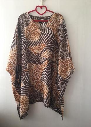 Роскошная шелковое платье, туника на море , блузка блуза больш...