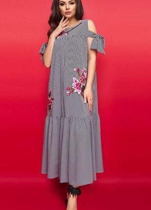 Шикарное весеннее макси платье оверсайз большие размеры
