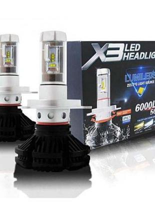 Лед Лампы Х3 H1/H11/H3/H7/H4 LED лампы 6000 Лм 50W