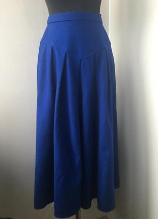 Тёплая шерстяная юбка миди, натуральная шерсть, пышная на кокетке